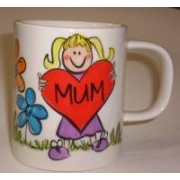 Handpainted Mug - Heart Mug for Mum