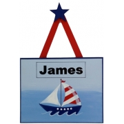 Personalised Name Plaque for kids wall or door Sailboat Seas