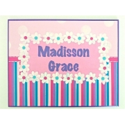 Personalised Name Plaque for kids wall or door Flowers and Stripes