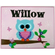 Personalised Name Plaque for kids wall or door Large blue owl on branch