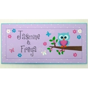 Personalised Name Plaque for kids wall or door  Little Owl - Purple