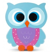 Wooden Block Freestanding feathered owl bright eyes - aqua, purple and pink