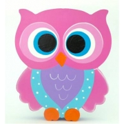 Wooden Block Freestanding feathered owl bright eyes - hot pink, purple and aqua