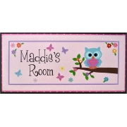 Personalised Name Plaque for kids wall or door  Little Owl - Pink