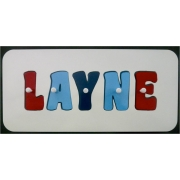 Personalised Kids Wooden Jigsaw Name Puzzle (Red/Sky Blue/Royal Blue)