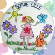 Handpainted Plate - Girl in the Garden with Dog
