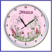 Plastic Wall Clock Personalised for Kids Magical Garden