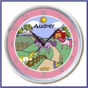 Plastic Wall Clock Personalised for Kids Pony Design