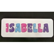 Personalised Kids Wooden Jigsaw Name Puzzle (Pink/Purple/Light Aqua)