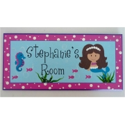 Personalised Name Plaque for kids wall or door Mermaid - Brown Hair