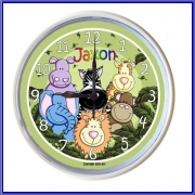 Plastic Wall Clock Personalised for Kids Zoofari Animals - Green