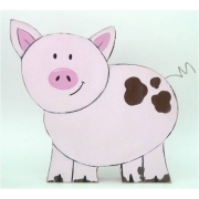 Wooden Block Freestanding pig