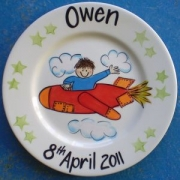 Handpainted Personalised Plate - Boy in a Plane