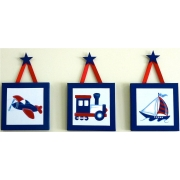 Artwork Childrens Room Decor - Travel Set - Blue and Red Kids Wall Art Canvas (Set of 3)