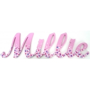 Scripted Name Plaque Wooden Letters for LARGE Fonts WITH A PAINTED PATTERN Starting from 3+ letters Pattern - Bubblegum Shown here in Classic Font