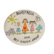 Handpainted Plate - Teacher with Boy and Girl