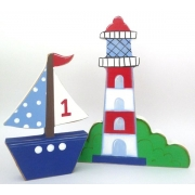 Wooden Block Freestanding lighthouse and sailboat set of 2