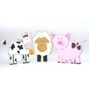 Wooden Block Freestanding farm animals set (pig, cow, sheep)