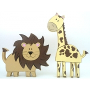 Wooden Block Freestanding jungle animals set of 2