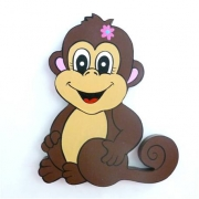 Wooden Block Freestanding monkey - girl