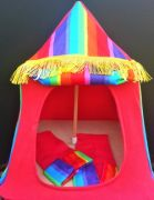 Kids Mini Play Tent Teepee - Fancy Fringe Red and Multi Stripes Design