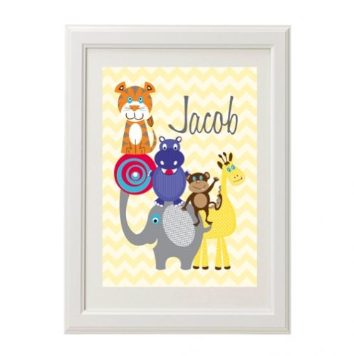 Stix and Stones Baby - Personalised Wall Art Print for bedroom - Zoo ...