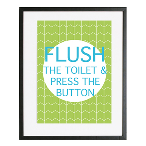 Personalised Wall Art Print for bedroom  - Bathroom rules - FLUSH - available in range of colours