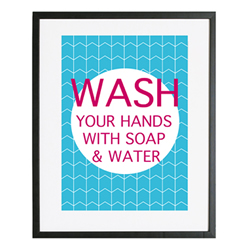 Personalised Wall Art Print for bedroom  - Bathroom rules - WASH - available in range of colours