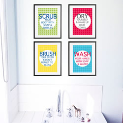 Personalised Wall Art Print for bedroom  - Bathroom rules - Set of 4 - available in range of colours