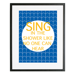Personalised Wall Art Print for bedroom  - Bathroom rules - SING - available in range of colours