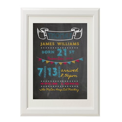 Personalised Birth Print for bedroom  - Boys Chalkbard - Available as a print only