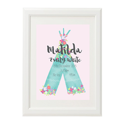 Personalised Birth Print for bedroom  - Girls Floral Tee Pee - Available as a print only