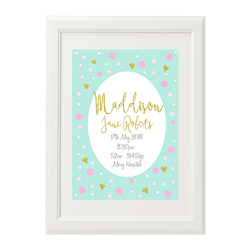 Personalised Birth Print for bedroom  - Girls Golden Glitter Hearts - Available as a print only