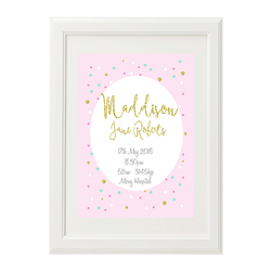 Personalised Birth Print for bedroom  - Girls Golden Glitter Polka Dot - Available as a print only