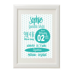 Personalised Birth Print for bedroom  - Girls Watercolour Dot - Available as a print only