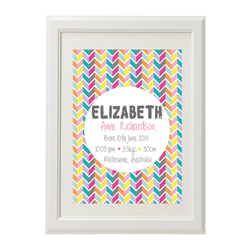 Personalised Birth Print for bedroom  - Rainbow Chevron Girls - Available as a print only