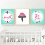 Personalised Birth Print for bedroom  - Toadstool - Available as a print only