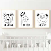 Personalised Wall Art Print for bedroom  - Monochrome Zoo Animals - Set of 3