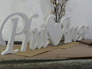 WHITE:  PVC (ACRYLIC) THICK only Name & or (Heart ) Name