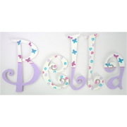 Wooden Alphabet Letters for walls Handpainted and personalised for kids  - Buttefly Lilac