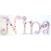 Wooden Alphabet Letters for walls Handpainted and personalised for kids  - Butterfly Garden Theme - PINK