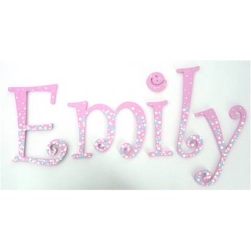 Wooden Alphabet Letters for walls Handpainted and personalised for kids  - Confetti White and Blue on Pink