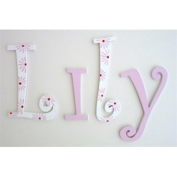 Wooden Alphabet Letters for walls Handpainted and personalised for kids  - Pink and Flowers