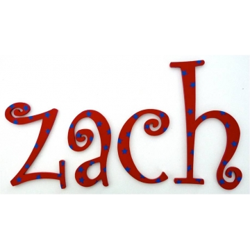 Wooden Alphabet Letters for walls Handpainted and personalised for kids - Red with Blue Stars