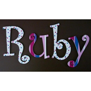 Wooden Alphabet Letters for walls Handpainted and personalised for kids  - Ruby Spots and Stripes
