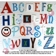 Wooden Alphabet Set A-Z LARGE SET - BOYS - to hang on nursery or bedroom wall