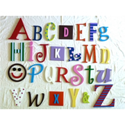 Wooden Alphabet Set A-Z LARGE SET - GIRLS- to hang on nursery or bedroom wall