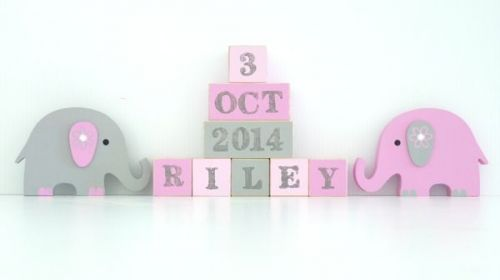 .Wooden Blocks - Personalised BLOCKS - ELEPHANT GIRL SET name, date and two freestanding blocks