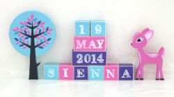 .Wooden Blocks - Personalised BLOCKS - DEER WOODLAND FRIENDS SET name, date and two freestanding blocks