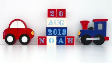 .Wooden Blocks - Personalised BLOCKS - TRANSPORT SET name, date and two freestanding blocks